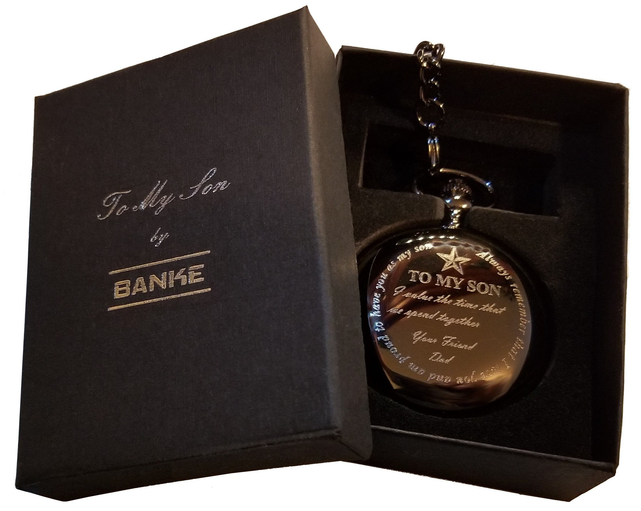 Banke Gift Pocket Watch''to My Son, from Dad'' with Chain and Keepsake Box