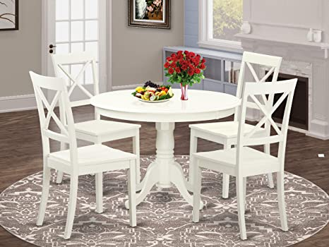 Amazon Com East West Furniture 5 Pc Dining Set Included A Round Dining Room Table And 4 Dining Chairs Solid Wood Kitchen Chairs Seat X Back Linen White Finish Furniture Decor