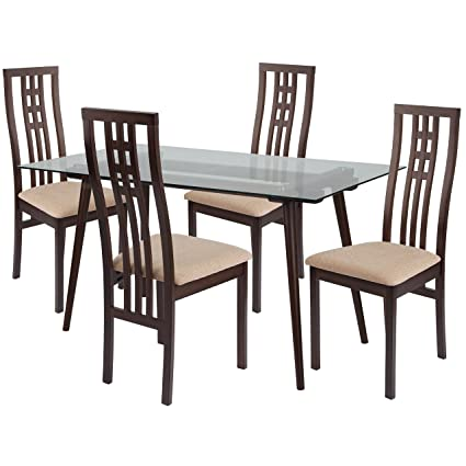 Awe Inspiring Amazon Com Flash Furniture Orland 5 Piece Espresso Wood Download Free Architecture Designs Scobabritishbridgeorg