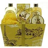 Spa Gift Basket, Spa Basket with Vanilla by Lovestee - Bath and Body Gift Basket, Gift Set Includes Paris Vanilla Shower Gel, Bubble Bath, Sensual Body Lotion, Bath Salt, Bath Puff and Rose Petal Soap