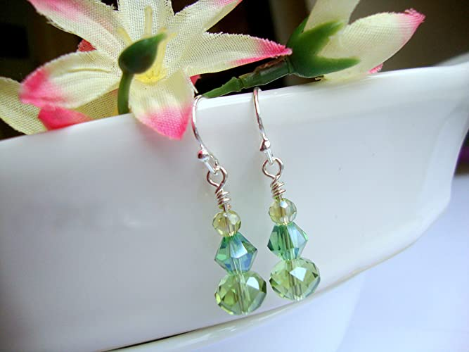6dfd52c31 Amazon.com: Peridot Apple Green Faceted Crystal August Birthstone Silver  Dangle Earrings: Handmade