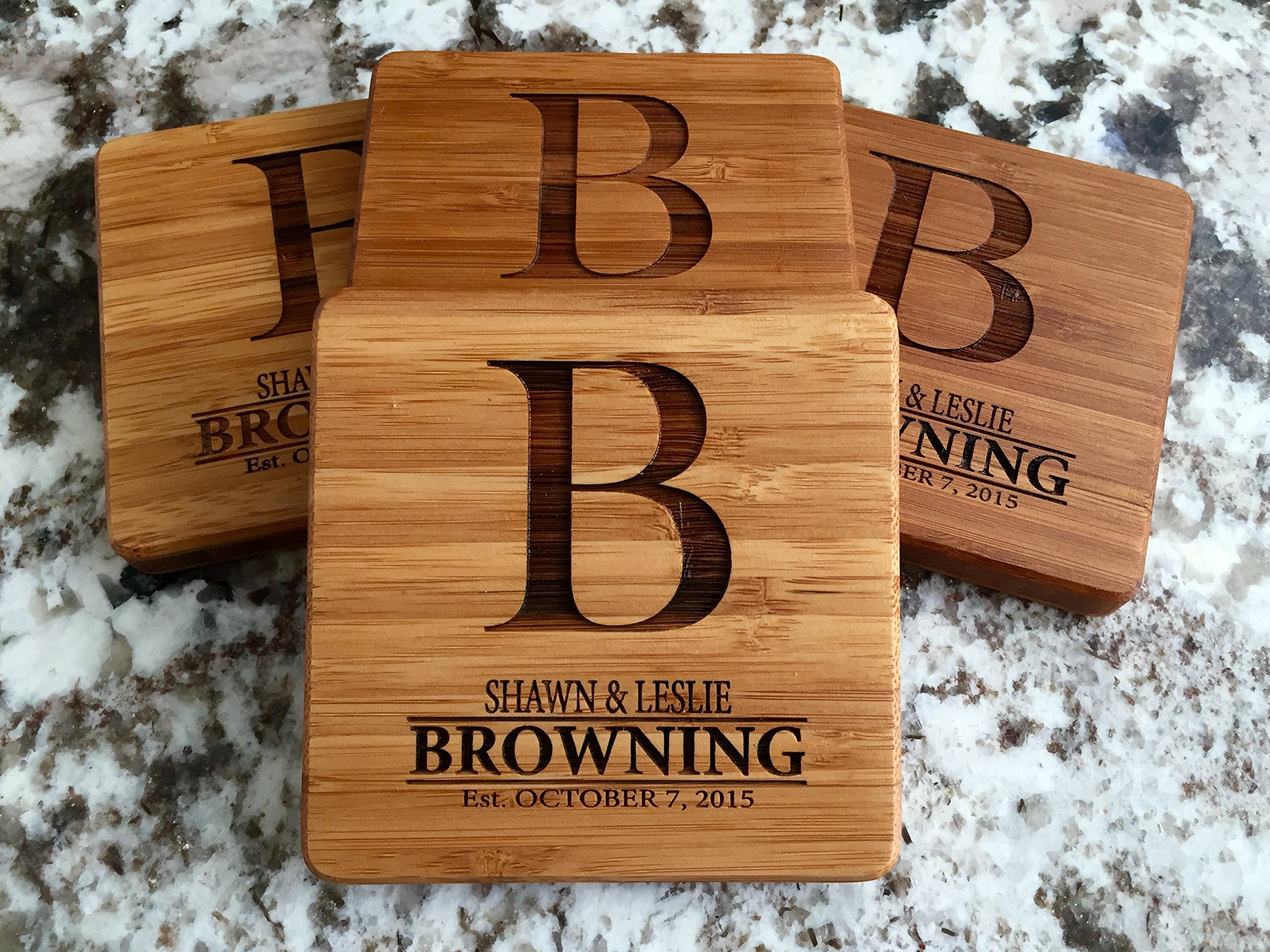 Personalized Wedding Gifts and Bridal Shower Gifts - Monogram Wood Coasters for Drinks (Set of 6, Browning Design)
