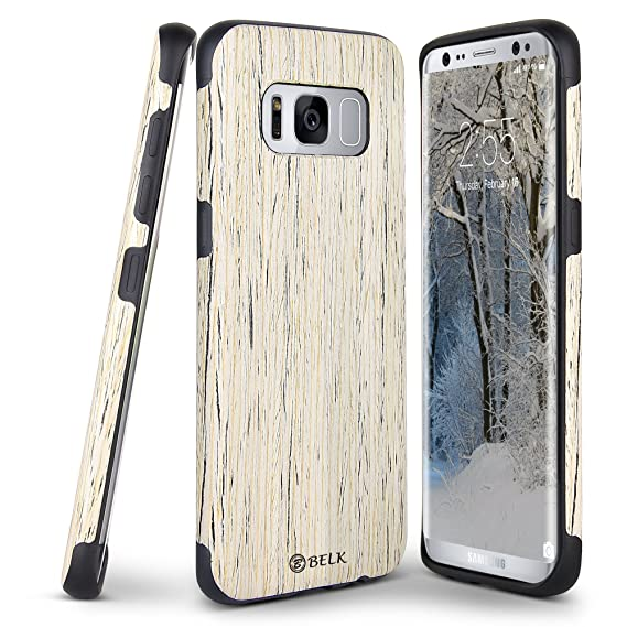 pretty nice 2b107 f9fcb Galaxy S8 Case, B BELK [Slim to Beat] Soft Wood Air Cushion Premium Rubber  Bumper [Thin Light] Flexible TPU Back Cover, Shock Resistant Wooden Armor  ...