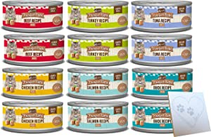 Merrick Purrfect Bistro Pate Grain Free Variety Pack - 6 Total Flavors: Salmon, Turkey, Chicken, Beef, Tuna, and Duck + Pet Paws Notepad (66oz, 12 Total Cans)