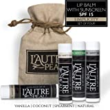 Luxury Lip Balm Set with SPF 15 by L'AUTRE PEAU - Dry Chapped Lips Treatment with Moisturizer for Sun Protection (Simplicity Set)