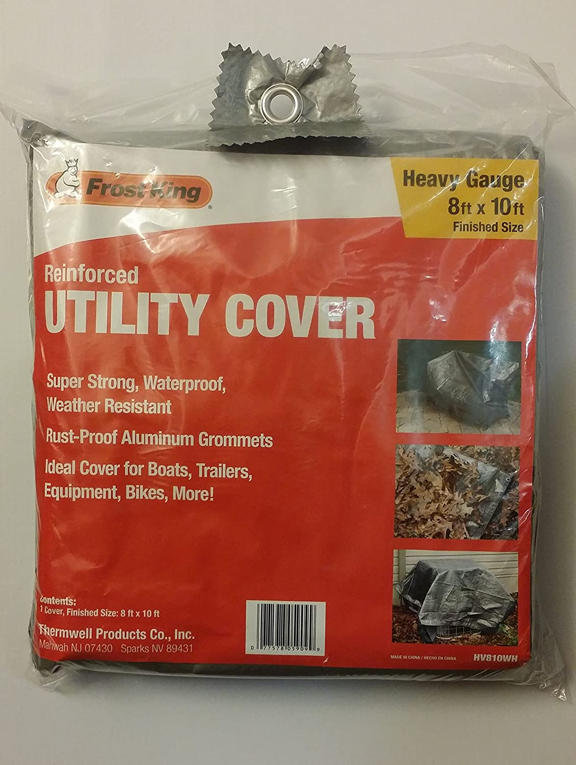 Tarp Thermwell Products Co Inc HV810WH Frost King Reinforced Utility Cover Grey, 8 ft by 10 ft