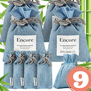 Encore Essentials-Bamboo Charcoal Air Purifying Bag — 9 Pack (4x 100g, 4x 50g, 1x 60g) — Air Purifier, Car Air Freshener, Shoe Deodorizer, Damp Rid, Odor Eliminator, Moisture Absorber, Pet Scent Remover for Room