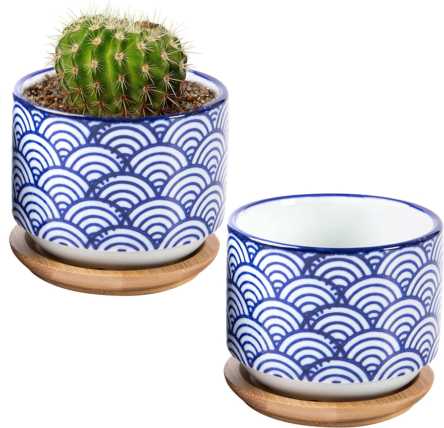 3-inch Japanese Style Wave White and Blue Ceramic Succulent Planter Pots with Bamboo Drip Tray, Set of 2