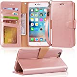 Arae Iphone 6s Plus Case, iphone 6 plus case, [Wrist Strap] Flip Folio [Kickstand Feature] PU leather wallet case with ID&Credit Card Pockets For Iphone 6 plus/6S Plus 5.5, rosegold
