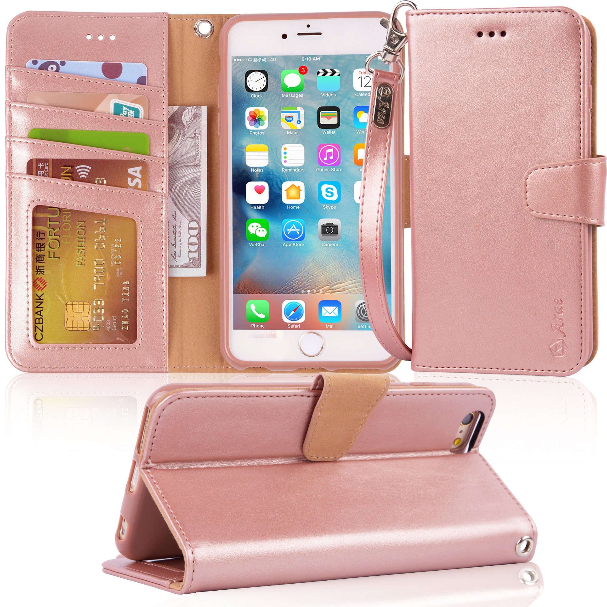 Arae Wallet case for iPhone 6s Plus/iPhone 6 Plus [Kickstand Feature] PU Leather with ID&Credit Card Pockets for iPhone 6 Plus / 6S Plus 5.5'' (not for 6/6s) (Rosegold)