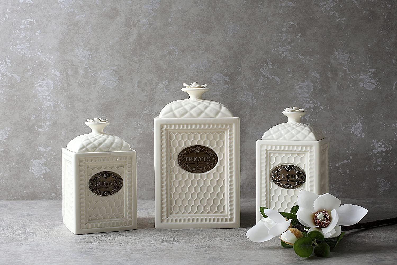 Flour Sugar Canister Set Treats Jar With Airtight Lids