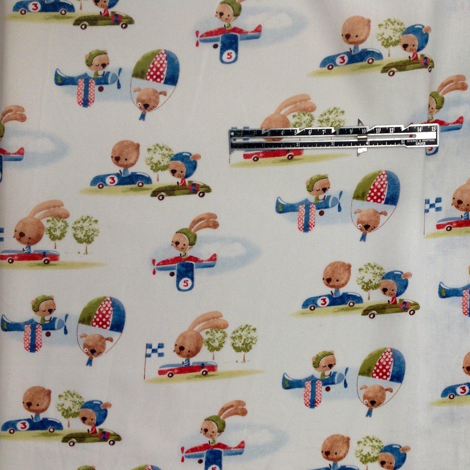 Playard Fitted Designer Handmade Mattress Sheet fits 28'' X 41'' X 2'' (Bear and Bunny Pilots)