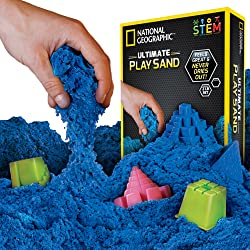 Image: National Geographic KINETIC Play Sand | 2 LBS of Sand with Castle Molds and Tray| Kinetic Sensory Activity