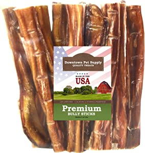 Downtown Pet Supply 6 and 12 inch American Bully Sticks for Dogs Made in USA - Odorless Dog Dental Chew Treats, High in Protein, Great Alternative to Rawhides