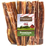 """Best Free Range 6"""" American Bully Sticks for Dogs Made in USA - Odorless Dog Dental Chew Treats, High in Protein, Great Alter"""