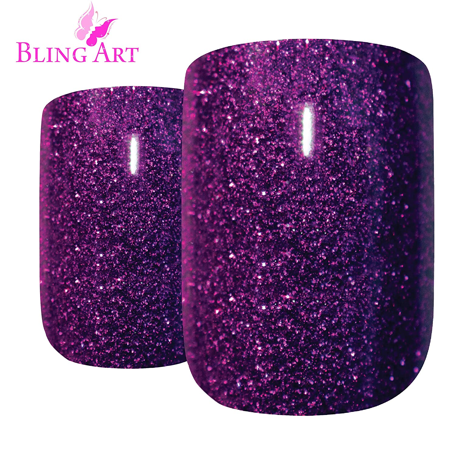 Bling Art False Nails French Fake Purple Gel Glitter Squoval 24 Medium Tips glue