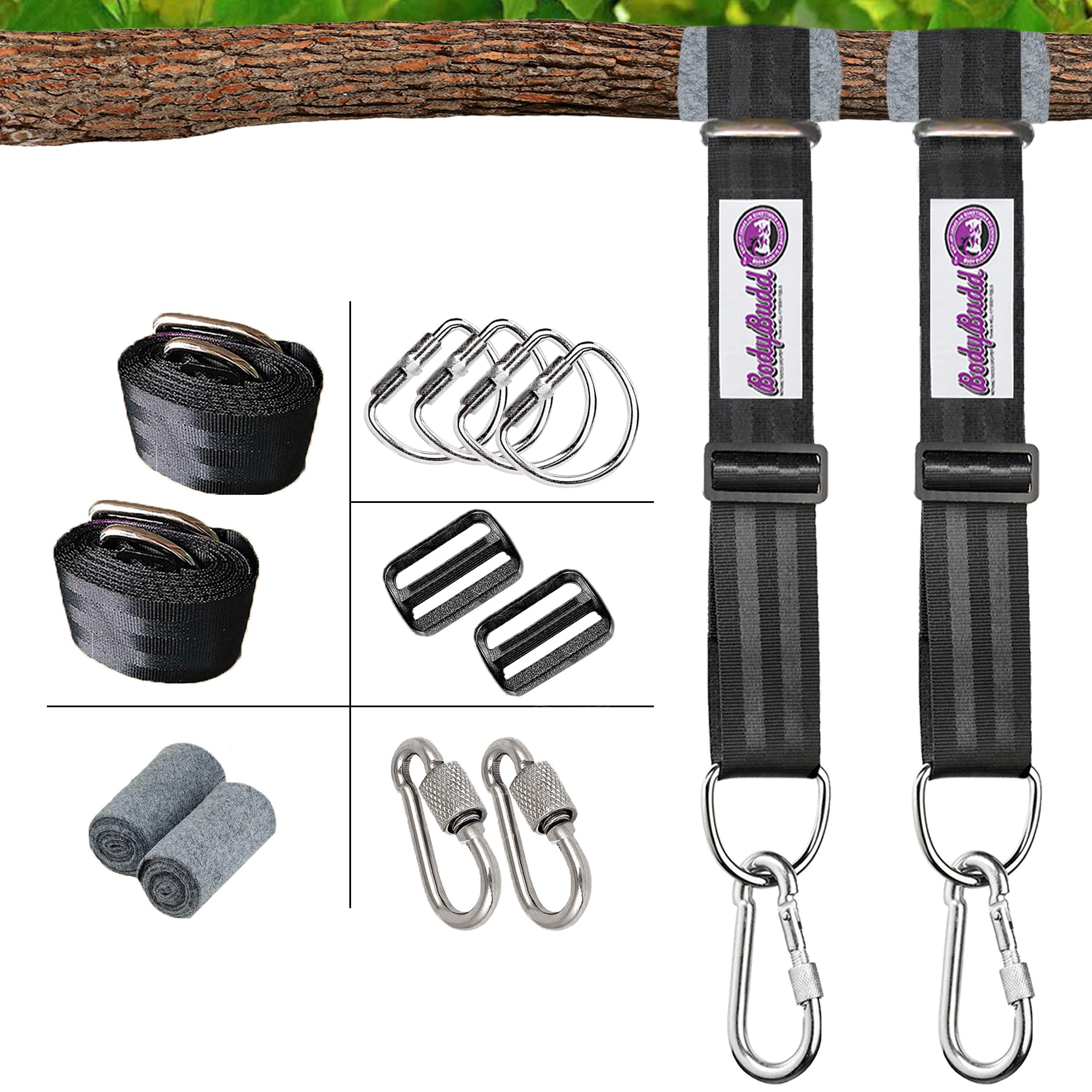 BodyBudd Tree Swing Adjustable Straps, Set of 2 (8 FT) Heavy Duty Hanging Kit, with Safety Lock Carabiner, and Tree Protector. Choice for Porch Swings, Hammocks, Tires, Saucers.