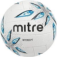 (White/Black/Cyan, Size 4) - Mitre Intercept Training Netball