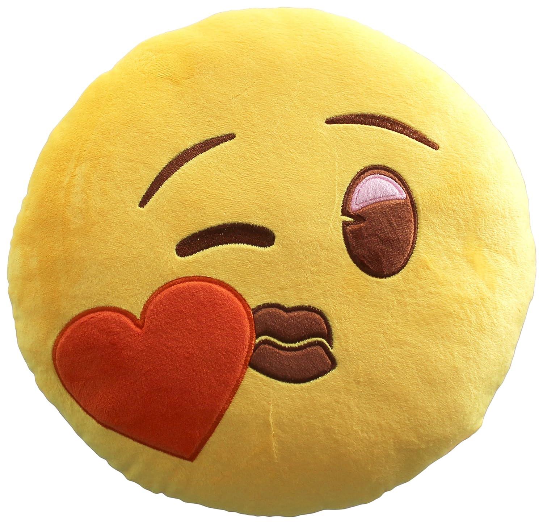 Emoji Smile Corazón Cojín Bordado Beso Oficial, Poliéster, Amarillo ...