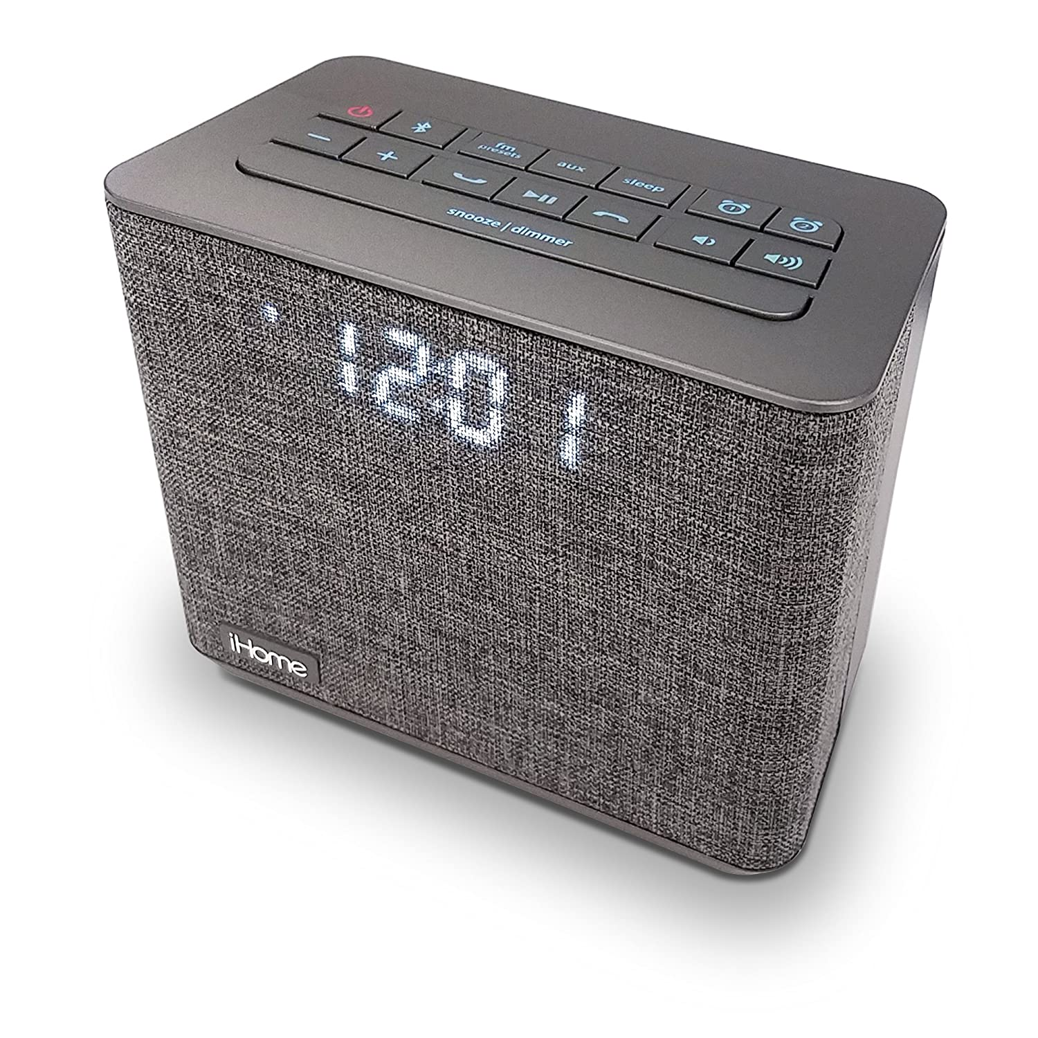 iHome iBT232 Bluetooth Dual Alarm FM Clock Radio with Speakerphone and USB Charging -Gray (Newest Model)