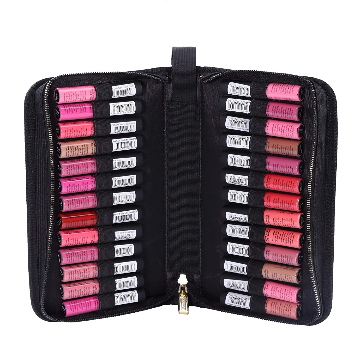 ROWNYEON Lipstick Tester Case Lipstick Makeup Bag Makeup Case Lipstick Lip Gloss Organizer Portable Lipstick Stock Case Holder Organizer with Handle Strap 26 Slots Black