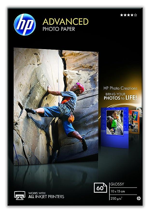 HP Q8008A 10 x 15 cm Advanced Glossy Photo Paper, Borderless, 250 gsm, 60  Sheets,White