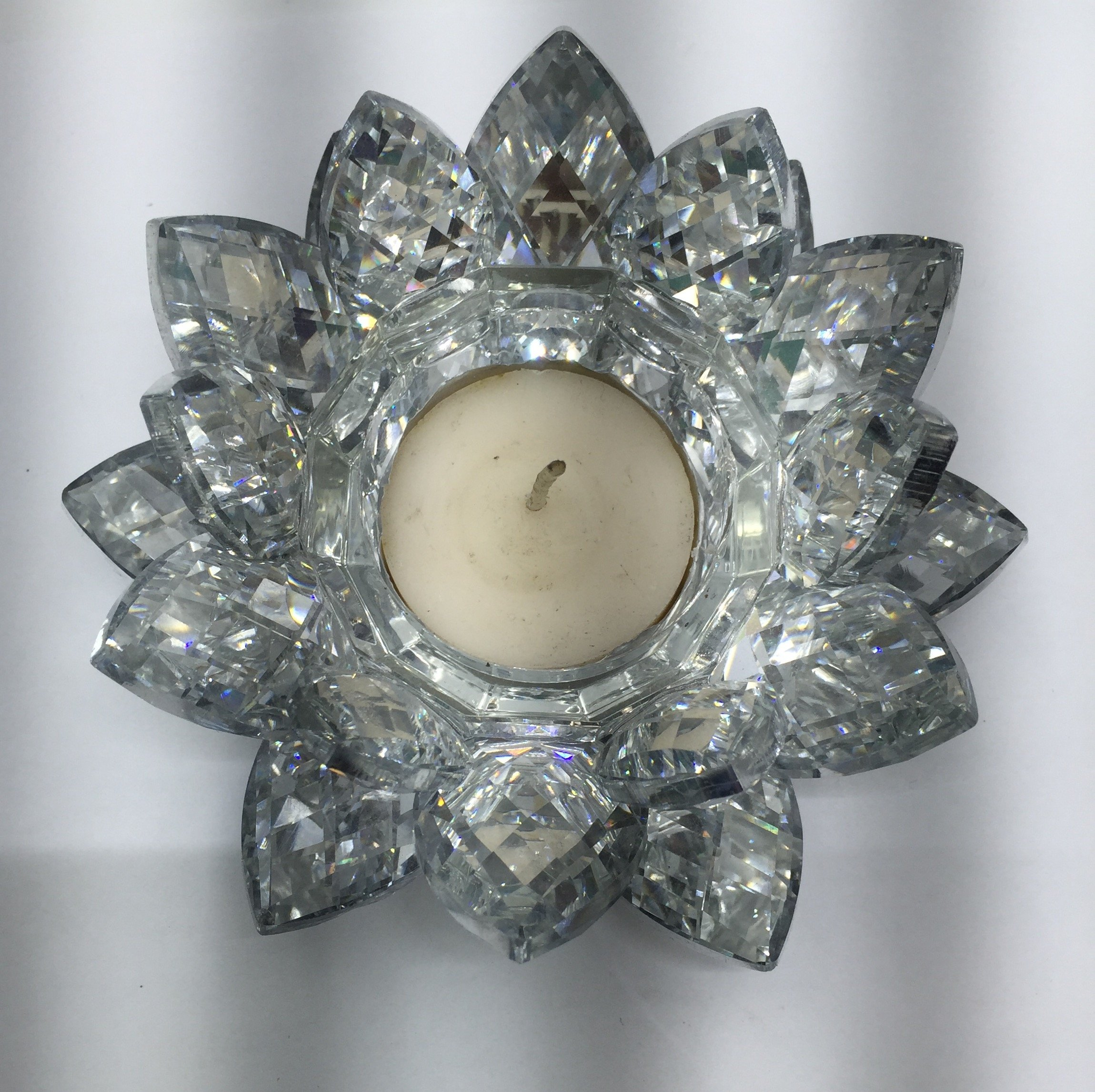 SunRise 4.5 inch Centerpieces Crystal Lotus Candle Holder Collectible Figurine Crystal (Silver) by SunRise (Image #4)