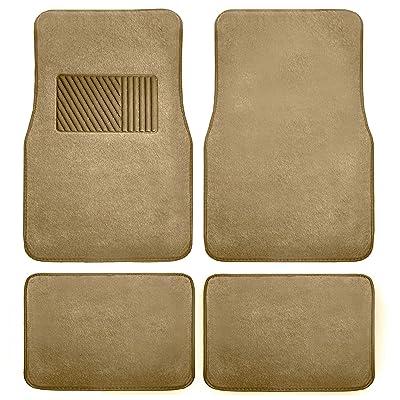 FH Group F14403BEIGE Beige Carpet Floor Mat with Heel Pad (Deluxe),Tan-Solid: Automotive [5Bkhe1001451]