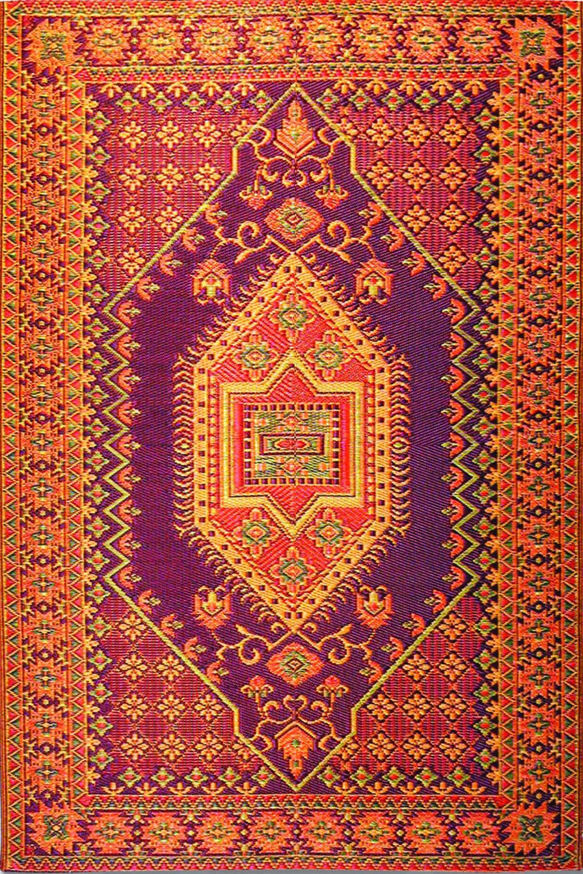 Mad Mats Oriental Turkish Indoor/Outdoor Floor Mat, 6 by 9-Feet, Rust