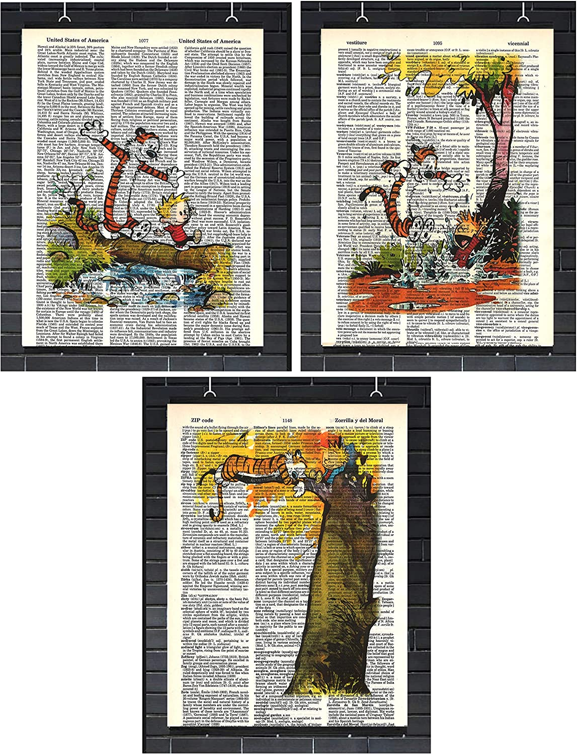 Calvin and Hobbes Classic Cartoon Prints Set of (3) Crossing Bridge Poster Jumping in Puddle Poster Sleeping in Tree Poster Calvin and Hobbes Children's Bedroom Wall Decor Dictionary Art Print