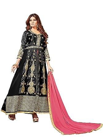 9d146dbb1c Amazon.com: Mirchi Fashion Black Abaya Style Art Silk Embroidery Party Wear  Un-Stitched Suit with Dupatta: Clothing