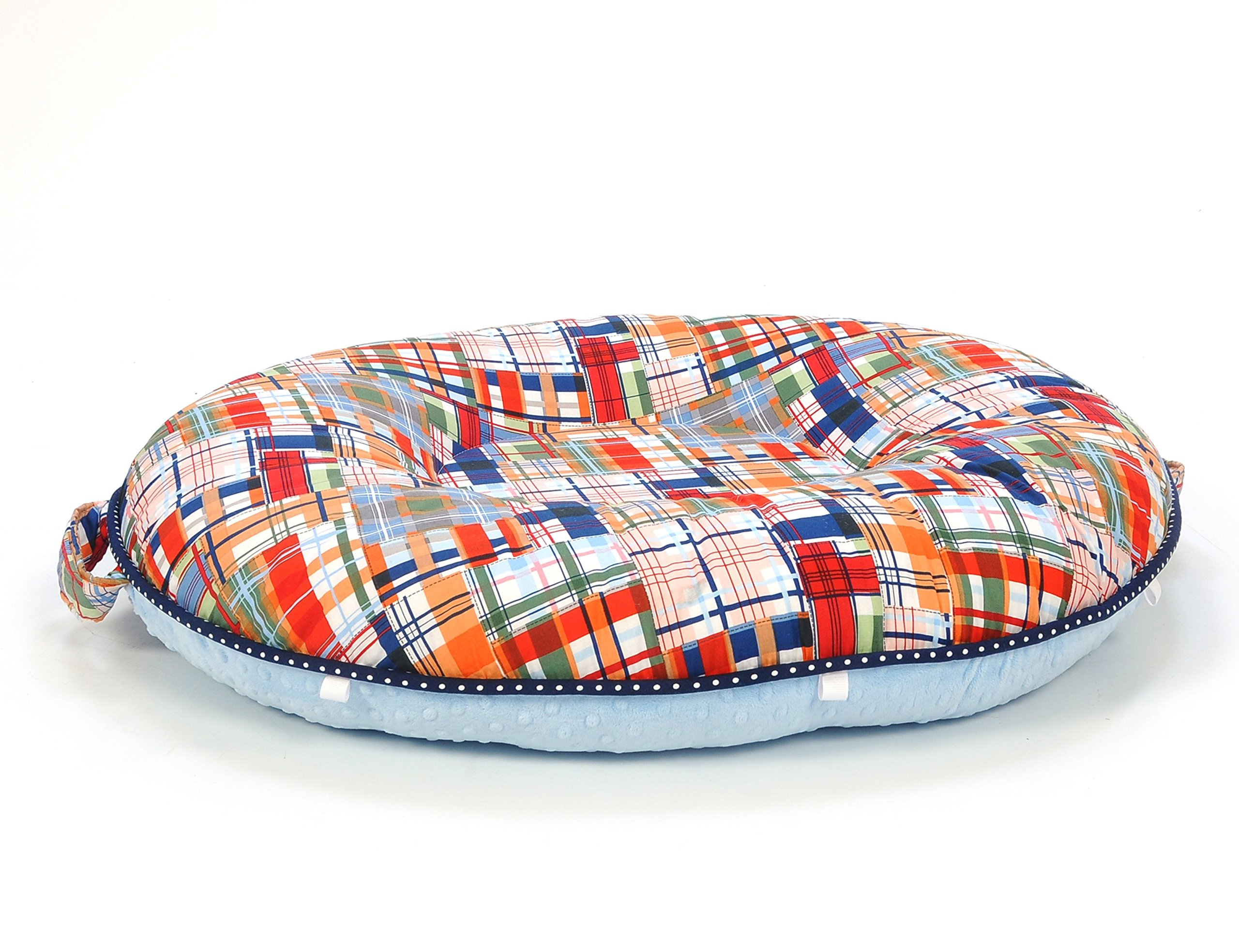 Pello Multi-use Luxe Baby-Toddler Floor Pillow/Play Mat/Lounger, Snazzy Plaid/Blue