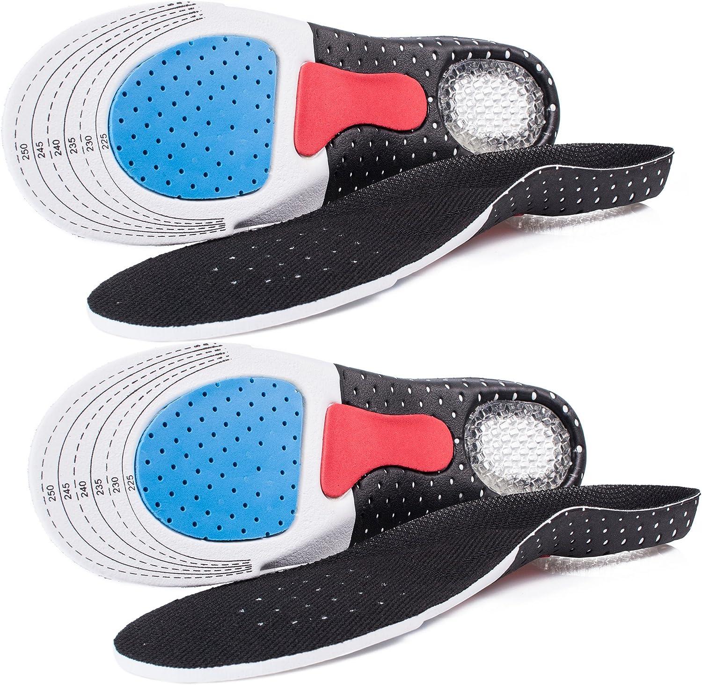 Plantilla para zapatos deportivos, mousse eva transpirable absorción de golpes, almohadilla para pies ortopédicos ajustable para fascitis plantar,correr, espolones de talón dolor de pies - 2 pares