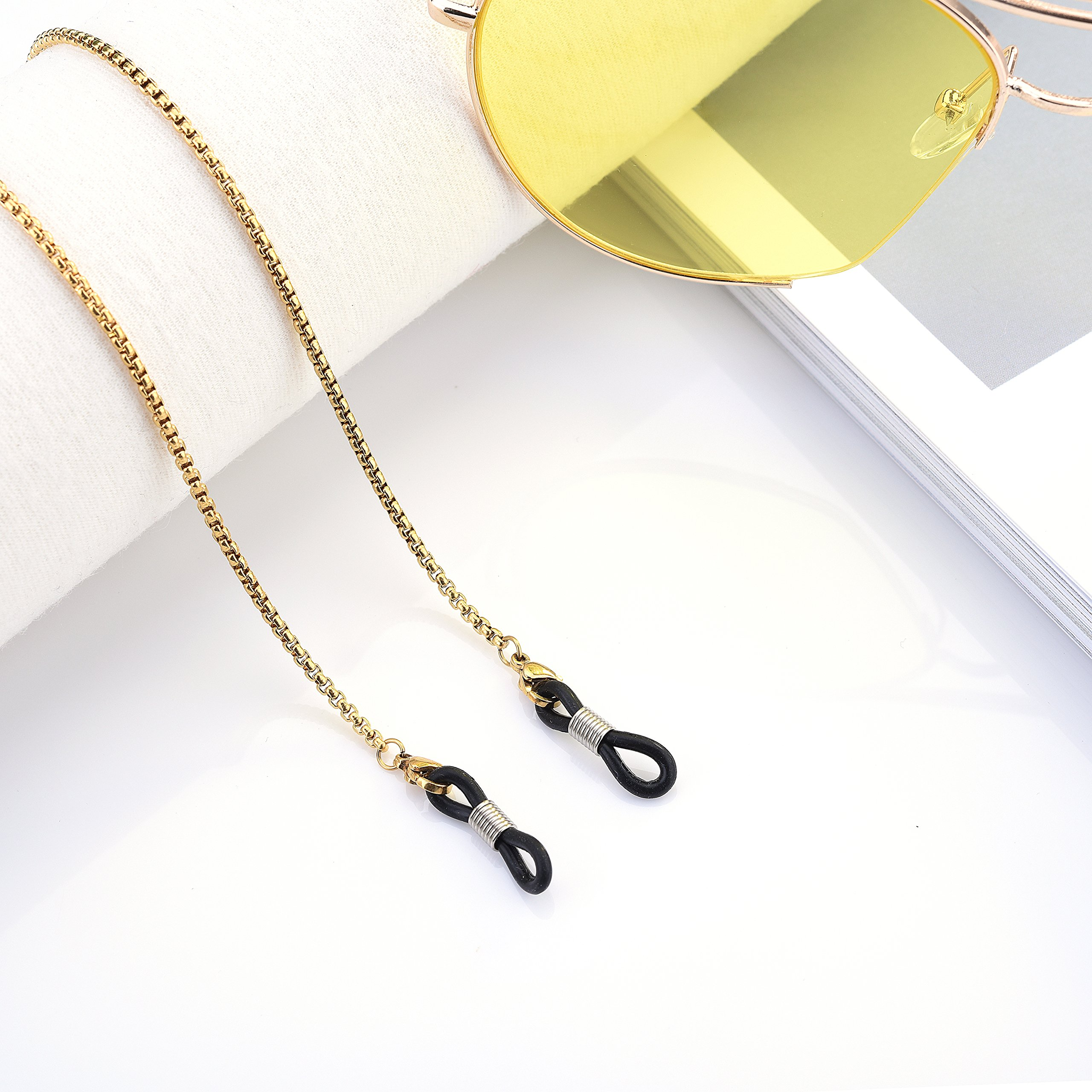 e37d3fc72b2 Eyeglass Chain - Kalevel Stainless Steel Sunglass Strap Eyeglass Strap  Holder (Gold)