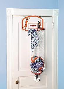 Etna Over the Door Basketball Hamper with Metal Ring & Backboard