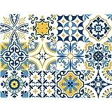Adesivi da parete, con disegno di piastrelle portoghesi della collezione Alfama, 12 pezzi, 15x15cm
