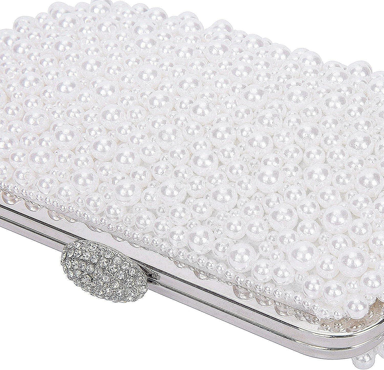 ORSERA Handgefertigt Perle Damen Handtaschen Clutches Abendtasche mit Strass Schlie?e