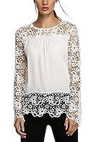 Zeagoo t-shirt/Chemise/Blouse Guipure à Manches Longues En Dentelle Crochet Hauts Femme Chic Dentelle