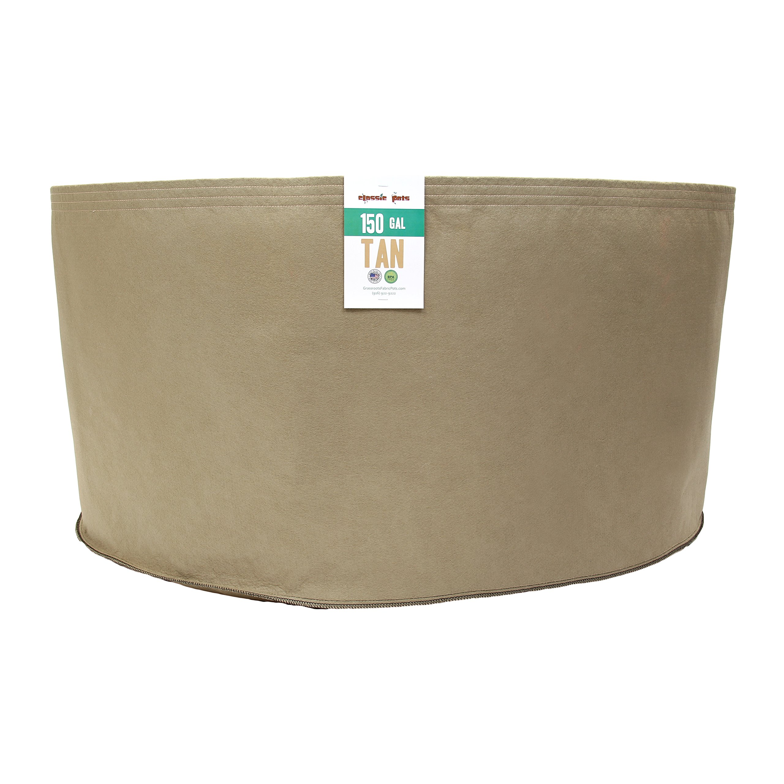 (50 Pack) 150 Gallon Tan Grassroots Fabric Pot - Grow Pot and Aeration Container