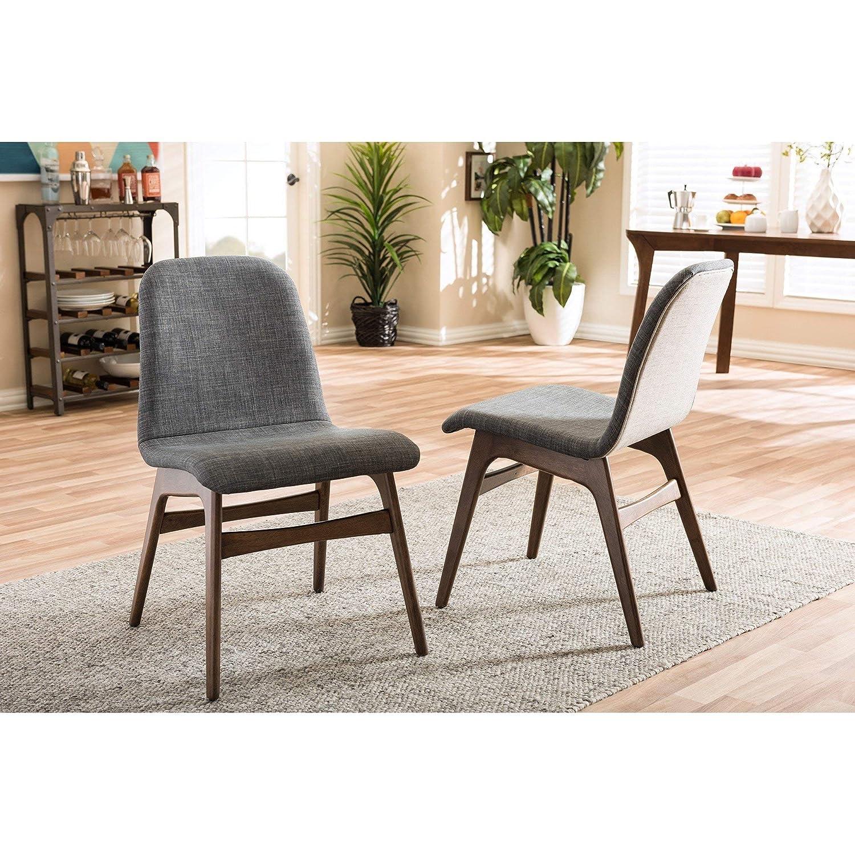 Amazon com baxton studio 2 piece embrace scandinavian style fabric upholstered walnut dining chair set dark gray chairs
