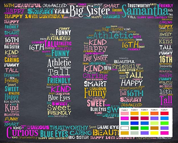 16th Birthday Gifts Gift Ideas 16 Chalkboard Decoration Banner Sign Keepsake Personalized For Her Him