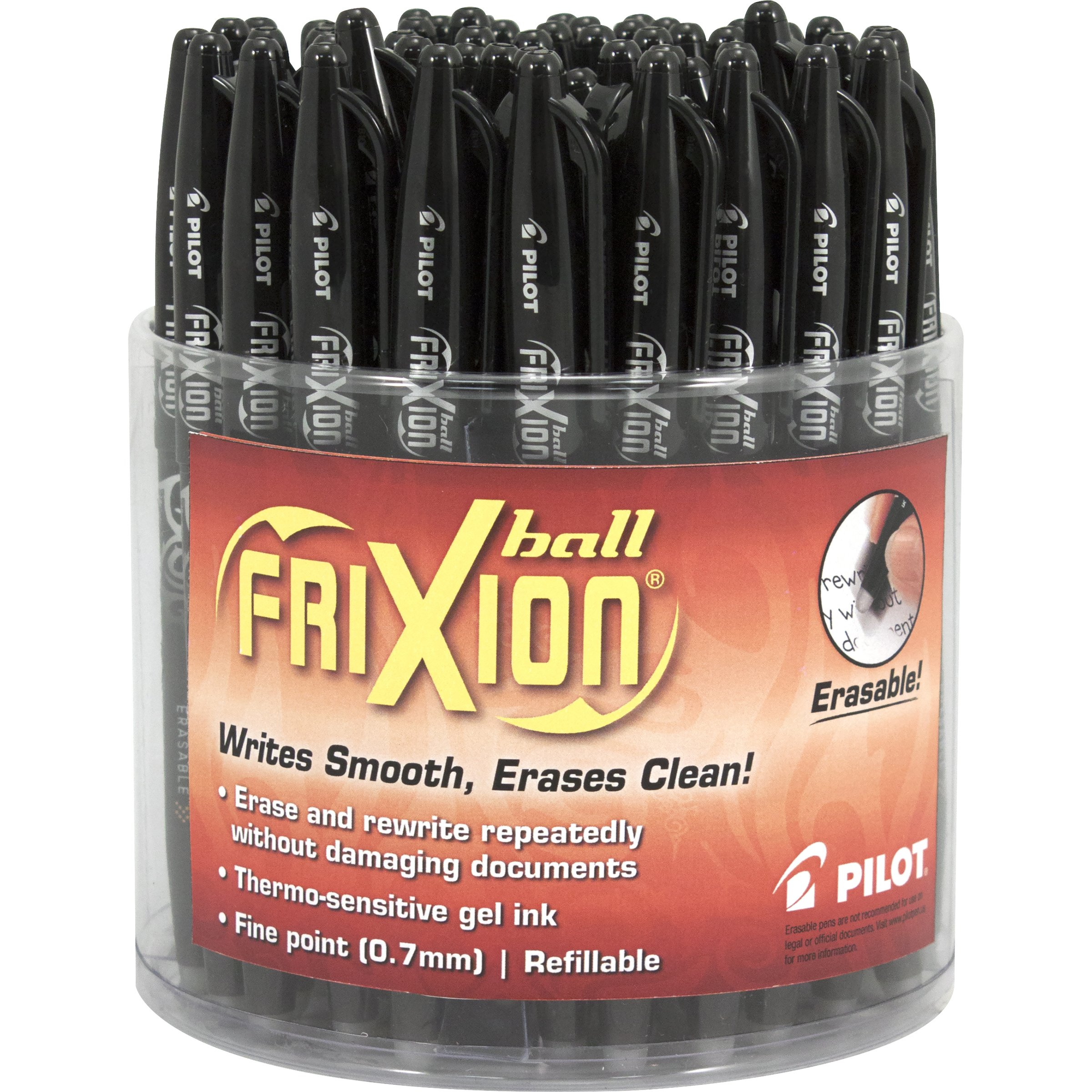Pilot FriXion Erasable Ball Pen Gel Ink Black Ink Fine Point (.7) Tub of 48 Pens; Make Mistakes Disappear, No Need For White Out. Smooth Lines to the End of Page, America's #1 Selling Pen Brand