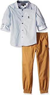 English Laundry Boys' Little Printed Woven Shirt and Twill Pant Set,