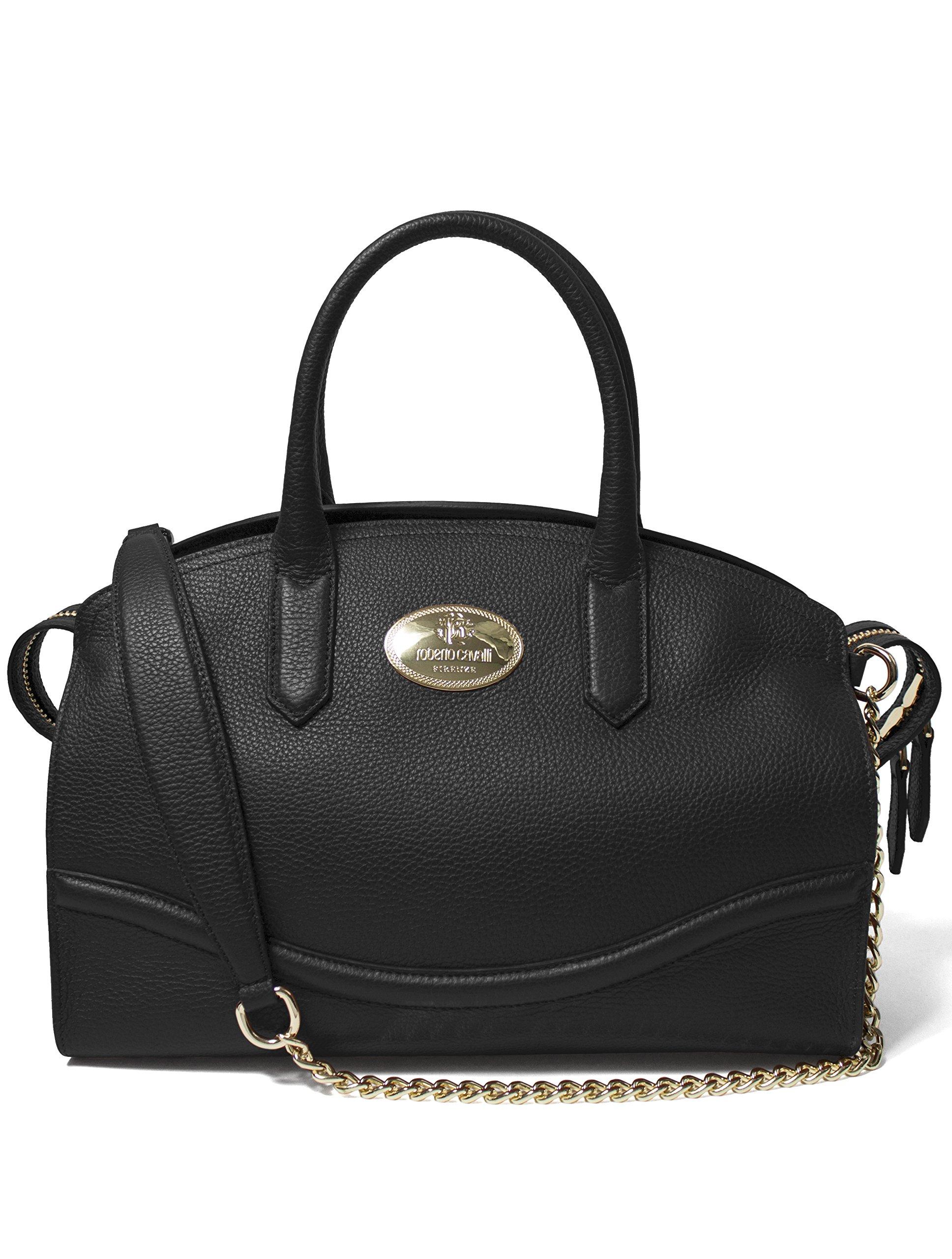 Roberto Cavalli Women's Leather Satchel Handbag Black