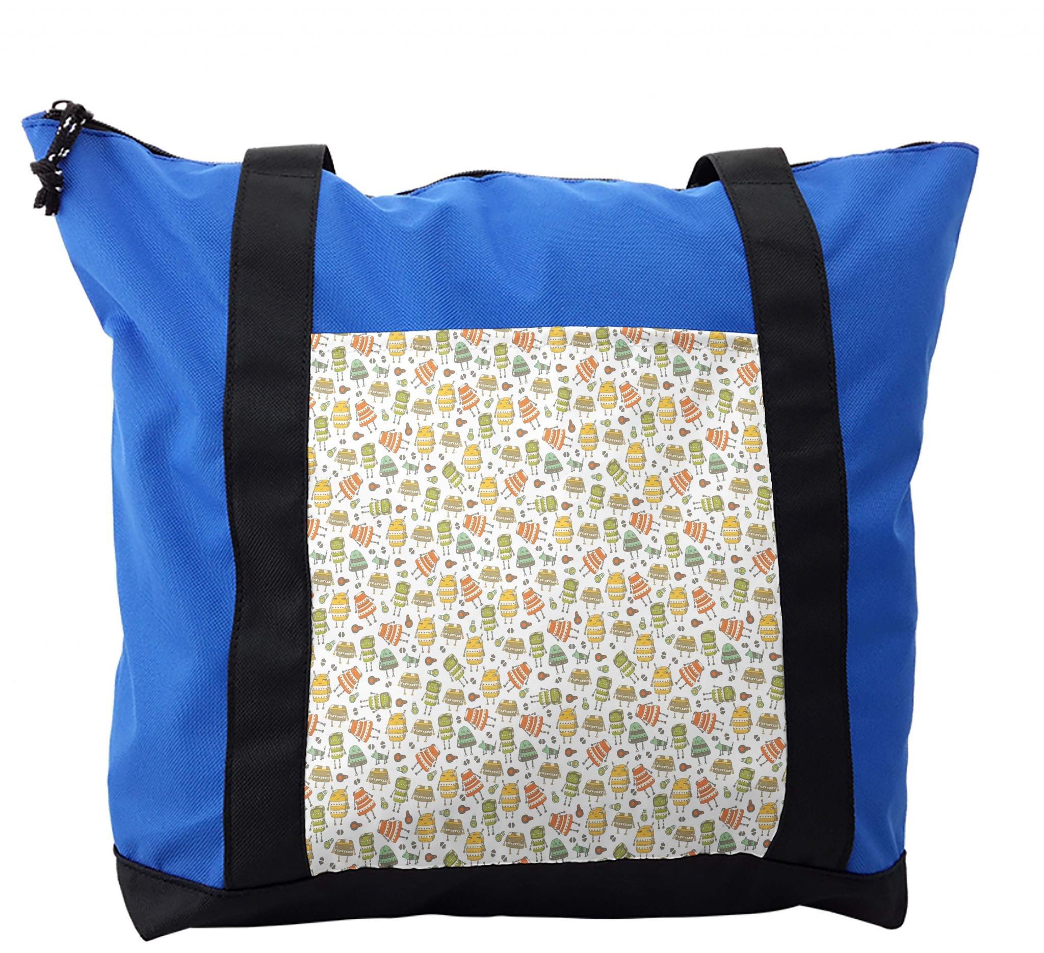 Lunarable Kids Shoulder Bag, Robots and Dogs Doodle Funny, Durable with Zipper