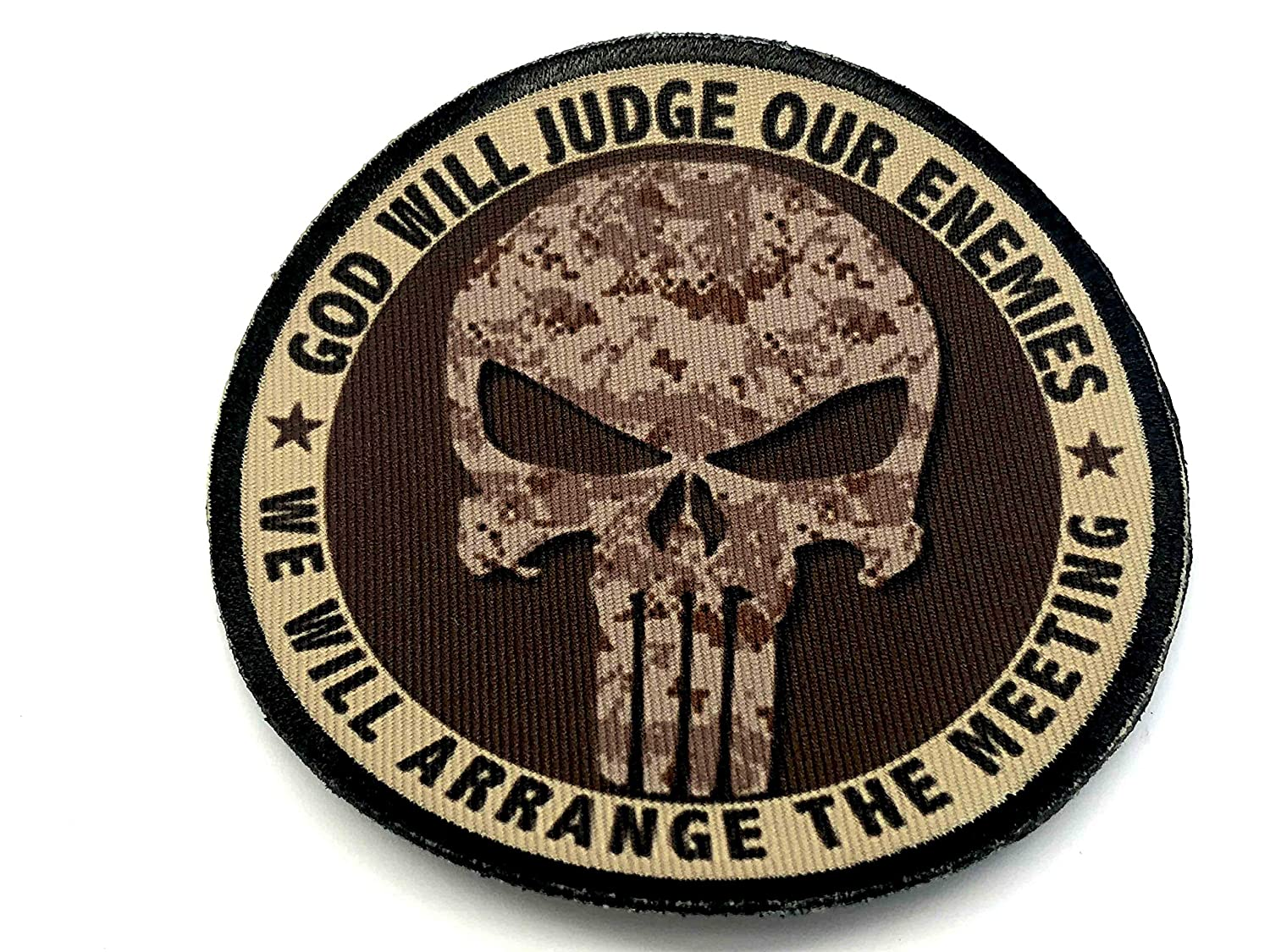 80mm Diameter Desert Digital Parche de Camo Punisher God Will Judge Our Enemies Sublimated Morale
