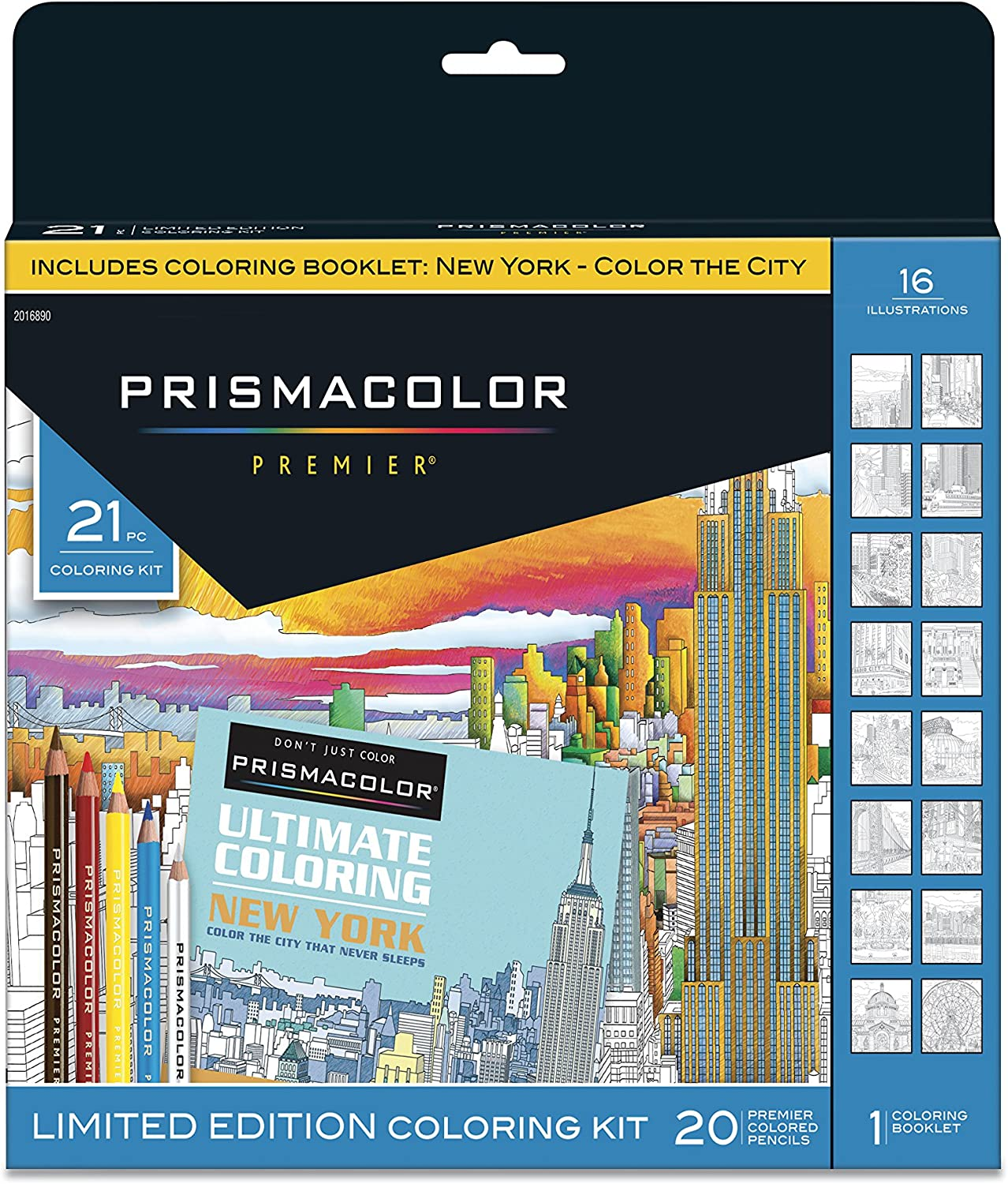 Prismacolor Premier Soft Core Pencils Adult Coloring Book Kit, New York City, 21 Pieces