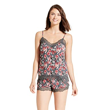 95c5ecd2bb56 Nanette Lepore Womens Tank Top and Shorts with Lace Trim Sleepwear Pajama  Set Graphite Small