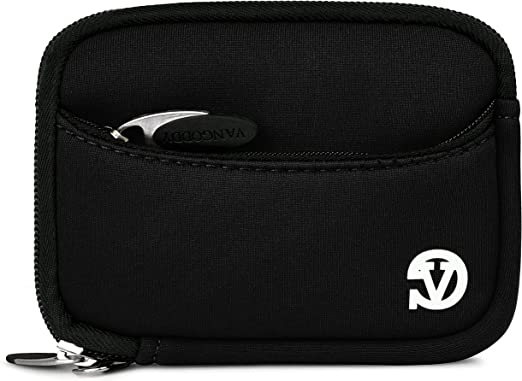 VanGoddy Mini Glove Sleeve Pouch Case for Sony Cyber Shot DSC Series Point and Shoot Digital Cameras and Screen Protector and Mini Tripod Stand Green Black Trim