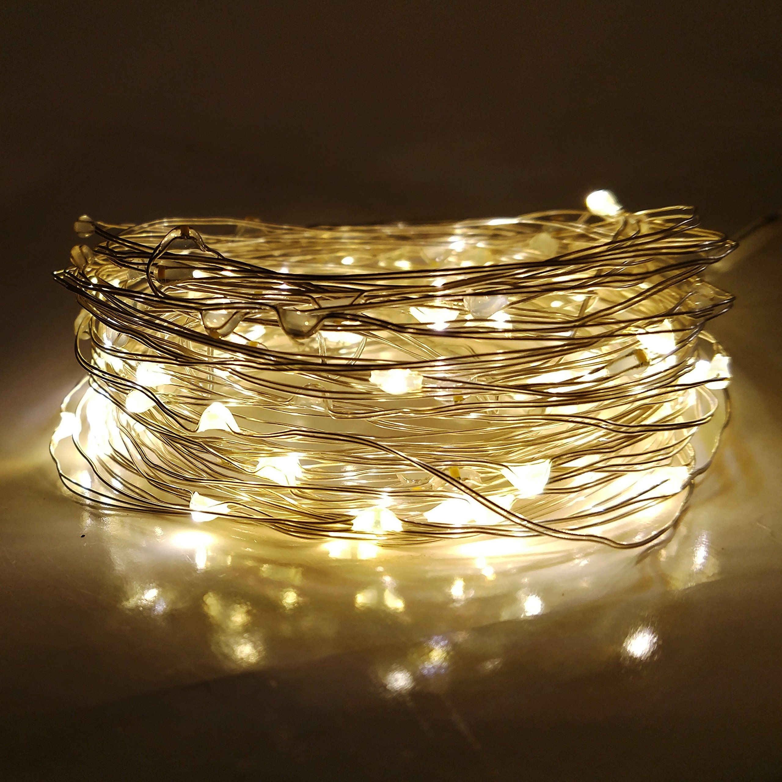Hometown Evolution, Inc. Solar Powered Micro LED String Lights - 100 LED, 33 Feet - Warm White, 8 Modes, Outdoor Waterproof for Gardens, Patios, Vases, Home, Parties and more